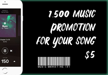 1,500 / 1500 / 1k+ Viral Music Promotion For Your Song (NO BOTS)