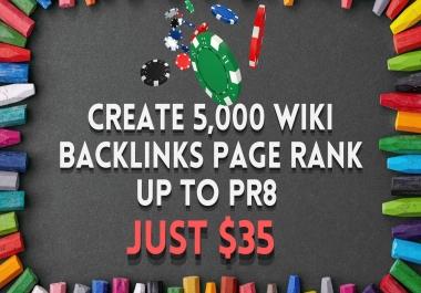 5,000 wiki backlinks Casino/Gambling SEO Ranking improvement guarantee