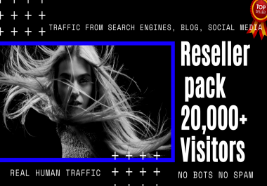 Reseller pack 20,000+ Visitors for your/customers Website or Blog From Search Engine