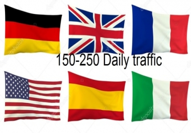 Daily traffic German , USA , UK , Italy , France, Spain