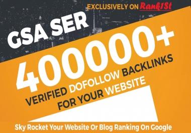 400.000 GSA SER SEO Link Juice Verified Backlinks For Faste Index & Increase Google Ranking