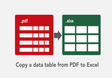 copy a data table from PDF into excel