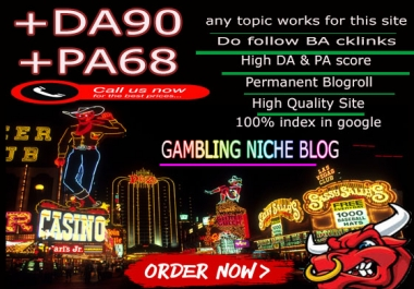 Give you backlink DA90x6 site gambling blogroll permanent