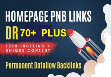 Do Manually 30 Permanent DR70+Plus Homepage PBN Do follow Backlinks