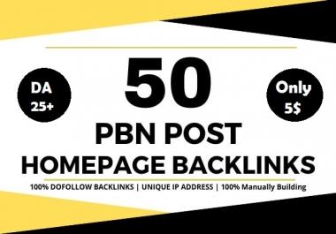 Build 50 powerful SEO permanent PBNs backlinks high DA 25+ homepage