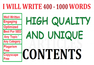 I write 400 - 1000 WORDS SEO unique contents/articles for your website/blog. Business Writer/Writing