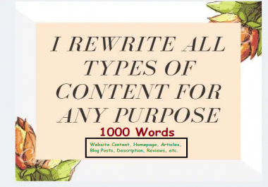I will manually rewrite website contents: blog post, articles. SEO Pro Rewriter
