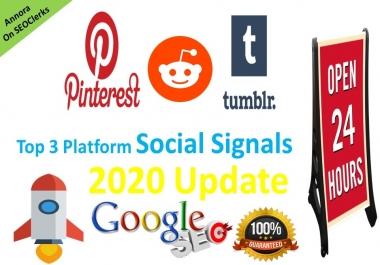 Get 100 Tumblr+100 Pinterest+25 Reddit Social Signals