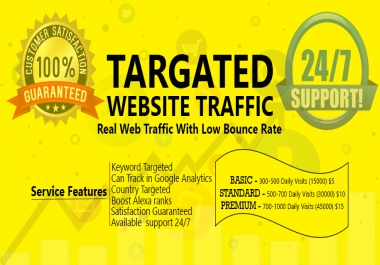 Drive Targeted Organic Website Traffic Unique Visitors For Website With Low Bounce Rate