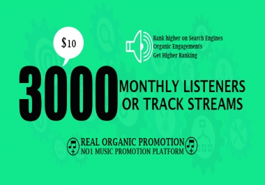 Do Massive 3000 Music Promotion To Your Track Streams Or Monthly Listeners