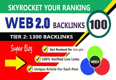 100 web 2.0 link building, 1300 tier2 SEO backlinks