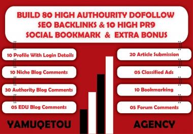 I Will Build 80 High Authority Dofollow SEO Backlinks + 10 High PR9 Social Bookmark+ Extra Bonus