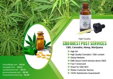 I will cbd guest post on cbd, marijuana, hemp, cannabis blogs, cbd guest posts service
