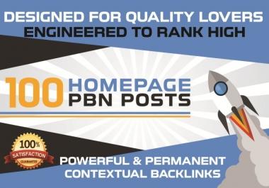 Build 100 high da pa tf cf homepage pbn backlinks permanent posts