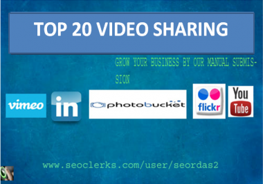 I will manually submit your video to top 20 video sharing sites