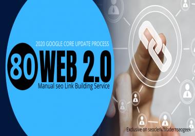 I will do 80 permanent web 2.0 contextual seo backlinks, manual link building work