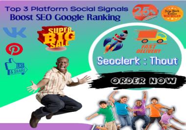 Top NO3 Powerful 10k Mixed Pinterest Facebook VK SEO Social Signals Bookmarks Ranking Google