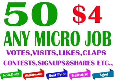Buy 50 Micro Jobs to Your Project (Any Type)