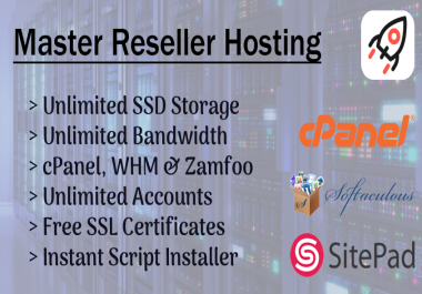 Master Reseller Hosting, Unlimited WHM's & cPanel, SSD Storage & Bandwidth + So Much More!