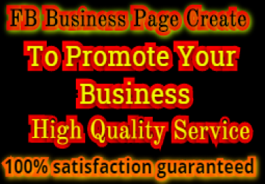 I will Create FB Business Page Or Fan Page