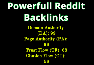 1 Powerfull Sub Reddit Backlinks for your link
