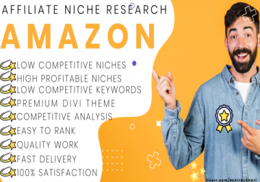 I will do 5 amazon niche and keyword research for affiliate marketing