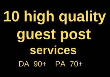 I will do 10 Guestpost High Quality Da 90 to 40 Do-Folow backlink