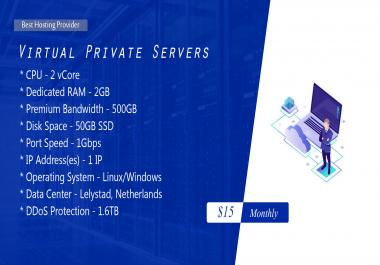 DDoS protected KVM VPS 2GB RAM 2 vCORE 50GB SSD
