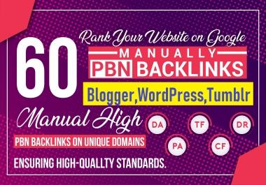 60 Dynamic PBNs Post From Blogger,WordPress,Tumblr Biggest web2 High DA PA TF CF Site