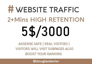 Get 2+ MIns of High Retention Real Website Traffic- Boost your rankings and earnings