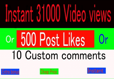 Instant social media music 31000 video views or 500+Likes or 10 comments promotion marketing