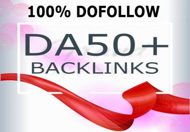 30 Back links DA 50+ High Authority 100% Do follow