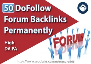 50 DoFollow Forum Backlinks Permanently on high DA PA   Manually Service.