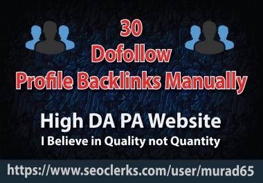 30 Dofollow Profile Backlink   High DA PA   Manually Service