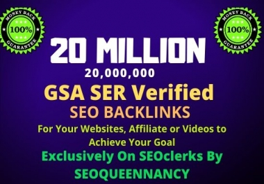 I Will Build 20 Million GSA Backlinks for Increase Your Link Juice