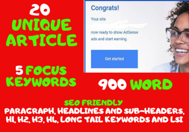 Get 20 Article 700+ Words, 5 keywords, unique, SEO Friendly, in any niche
