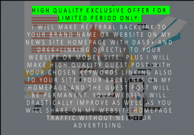 I will make permanent HOMEPAGE dofollow backlink to my news site with DA55+, DR70+ & UR79+