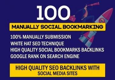 Manually 100 Social Bookmarking SEO Backlinks With Social Media Sites