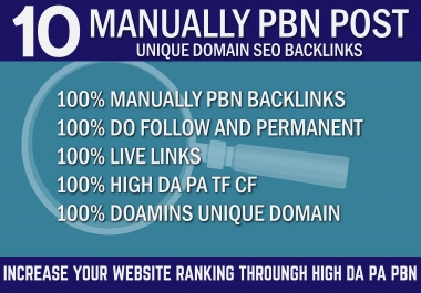 10 Manually PBN Post On Unique Domain High DA PA Quality SEO Backlinks