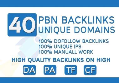 High Quality 40 PBN Backlinks Unique Domains Contextual High DA PA