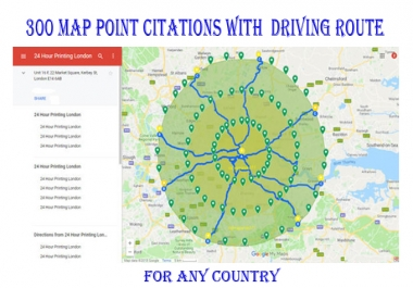 I will do 300 google map point citations with add driving route and add GEO tag image every point