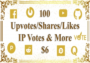100 Upvotes or Shares or Bookmarks or Any Task from Real Users