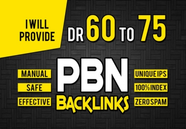 I will make 10 Permanent DR 70 Homepage High Quality PBN Backlink