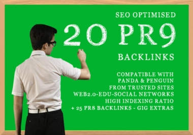 Instantly give you manually 20 pr9 high quality SEO backLinks only 8 hours