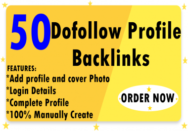 50 Dofollow profile backlink with profile pic and login details to Improve Website Ranking