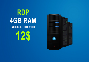 VPS/RDP Server 4GB Ram - 1GBIT Speed - 40GB SSD