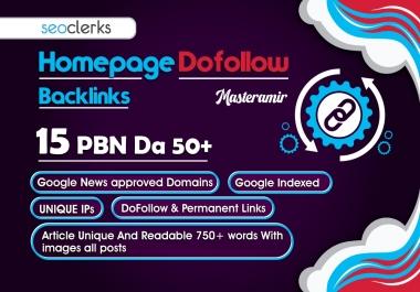Build 15 PBNs DA 50+ Homepage Dofollow High Quality Google News Approved Backlinks