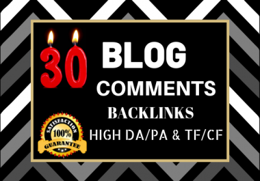 Do 30 Unique Domain Niche Related Blog Comments Backlinks High DA PA