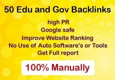 Manually create 50 edu and gov high PR authority backlinks