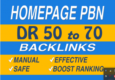 Make DR 50 to 70 homepage pbn backlinks